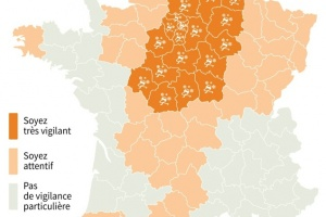Illustration : 24 départements placés en vigilance orange neige