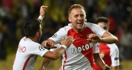Illustration : Le Mon�gasque Kamil Glik c�l�bre son but du 1-1, le 27 septembre 2016  face au Bayer Leverkusen