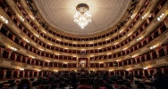 Illustration : L'auditorium de la  Scala avant une répétition à Milan, le 7 mai 2021