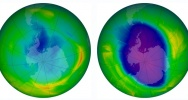 Illustration : A combination of two images released by the Nasa Earth Observatory on December 1, 2009 showing the size and shape of the ozone hole in 1979 (L) and in 2009