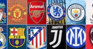 Illustration : Montage des logos, réalisé le 19 avril 2021, des 12 clubs susceptibles de participer à la future Super Ligue : Liverpool, Manchester United, Arsenal, Chelsea, Manchester City, Tottenham, Real Madrid, Barcelone, Atletico Madrid, Juventus Turin, Inter Milan et l'AC Milan