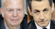 Illustration : Montage d'une photo de Patrick Buisson, prise le 15 octobre 2012 � Paris et d'une photo de Nicolas Sarkozy prise le 6 mars 2012 � Paris