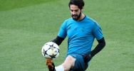Illustration : Le milieu de terrain offensif du Real Isco lors d'un entraînement le 30 avril 2018 à Madrid