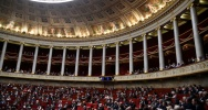 Illustration : L'hémicycle de l'Assemblée nationale au palais Bourbon, le 24 mai 2016