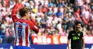 Illustration : Le Fran�ais Antoine Griezmann apr�s un but pour l'Atletico contre Gijon, le 17 septembre 2016 � Vicente Calderon