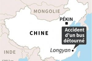 Illustration : Chine : huit morts dans l'accident d'un bus détourné